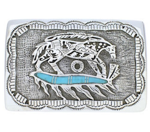 Sterling Silver Horse Feather Turquoise Southwest Belt Buckle EX29144