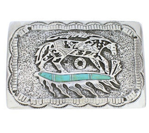 Sterling Silver Turquoise Southwest Horse Feather Belt Buckle EX29158