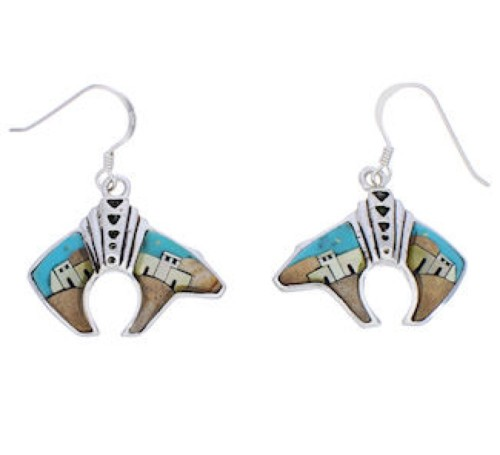 Multicolor Silver Bear Native American Village Design Earrings PX29818