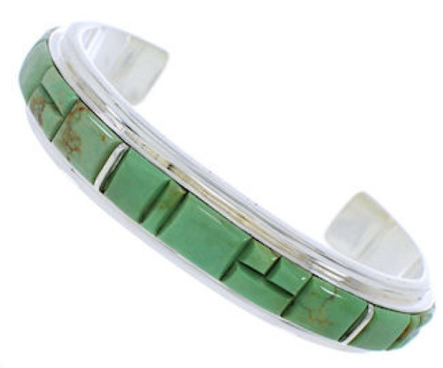 Southwestern Jewelry Turquoise Inlay Silver Cuff Bracelet EX27697