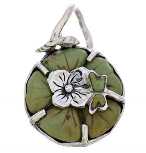 Sterling Silver Turquoise Flower Dragonfly Jewelry Pendant MX23961
