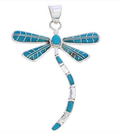 Dragonfly Turquoise Inlay Silver Jewelry Pendant MX24031