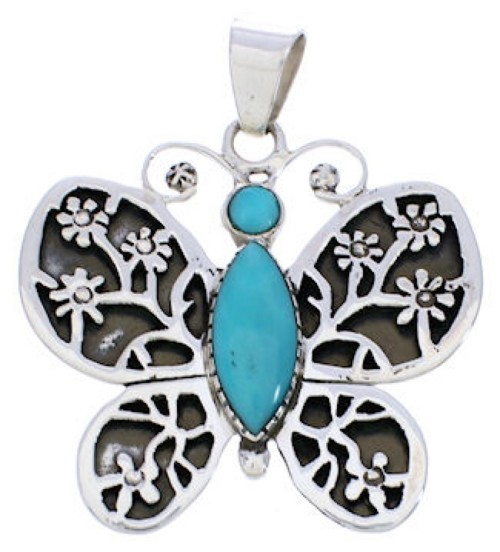 Southwest Butterfly Flower Turquoise Silver Pendant MX24080