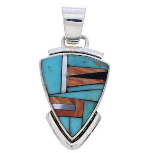 Turquoise Multicolor Sterling Silver Jewelry Slide Pendant MX21992