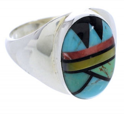 Sterling Silver Multicolor Southwestern Inlay Ring Size 12-1/2 UX39259
