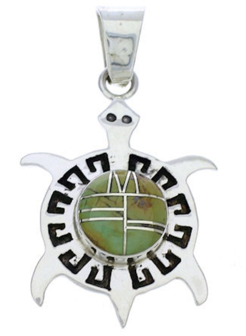 Sterling Silver Southwestern Turquoise Inlay Turtle Pendant EX28634
