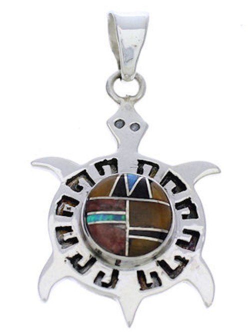 Southwest Multicolor Sterling Silver Turtle Pendant Jewelry EX28658