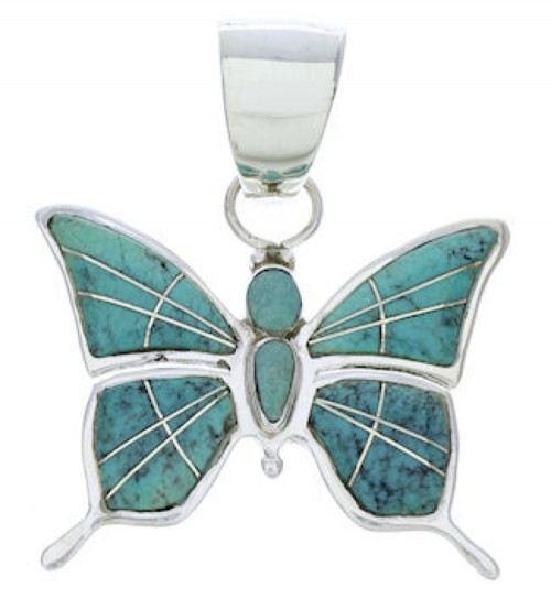 Southwest Turquoise Sterling Silver Jewelry Butterfly Pendant EX28692