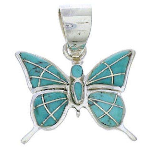 Southwest Turquoise Inlay Butterfly Sterling Silver Pendant EX28707