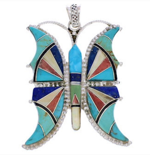 Sterling Silver Southwestern Multicolor Butterfly Pendant AX23532