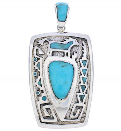 Turquoise Inlay Water Wave Horse Pendant Jewelry AX23617