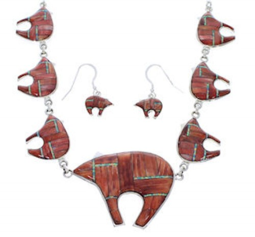Red Oyster Shell Opal Inlay Bear Link Necklace Earrings Set PX37338