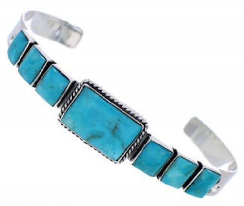Turquoise Genuine Sterling Silver Southwest Cuff Bracelet FX27636
