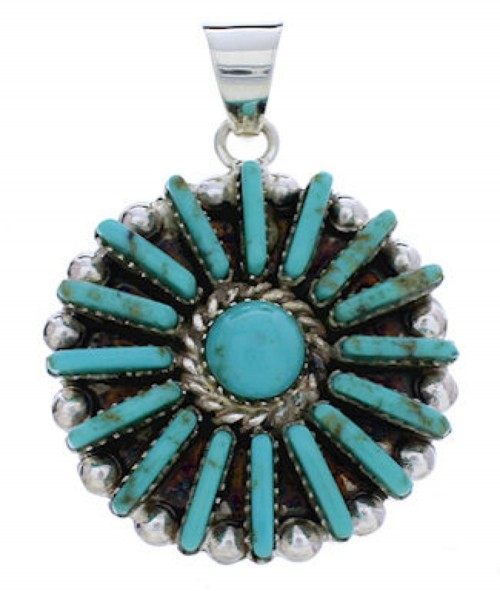 Turquoise Southwestern Sterling Silver Pendant EX28621