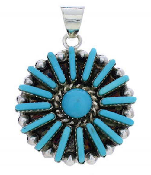 Turquoise Southwest Sterling Silver Jewelry Pendant EX28623