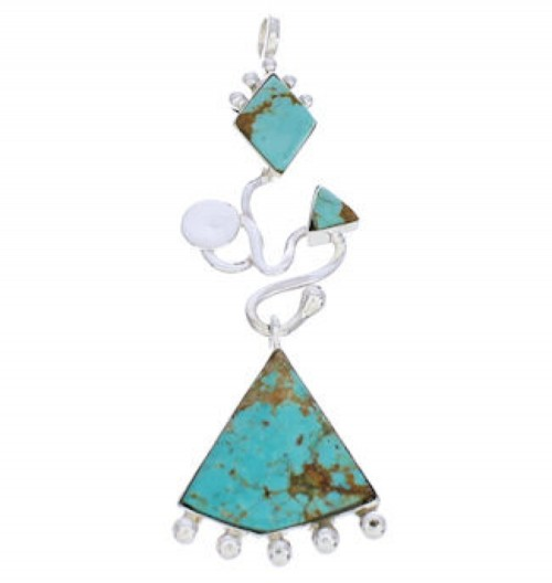 Sterling Silver Southwest Jewelry Turquoise Pendant PX24030