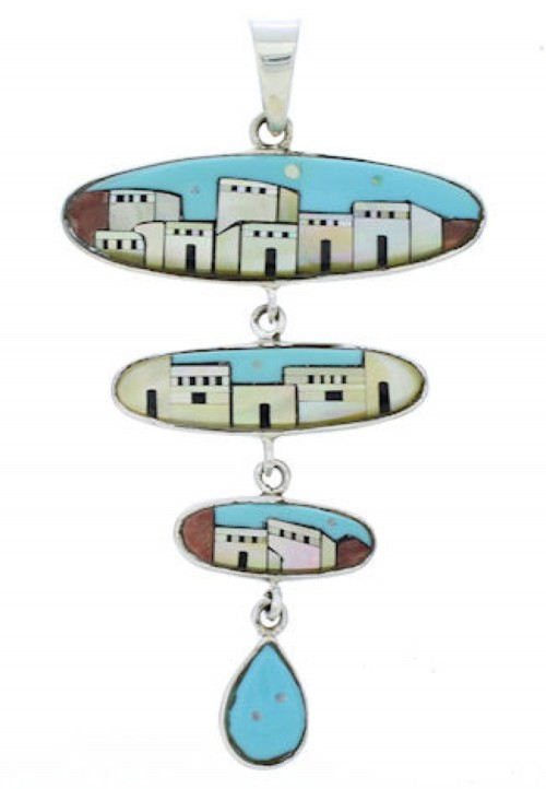Southwestern Multicolor Native American Village Design Pendant EX29569