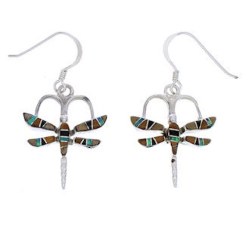 Multicolor Inlay Silver Dragonfly Jewelry Hook Dangle Earrings MW77069