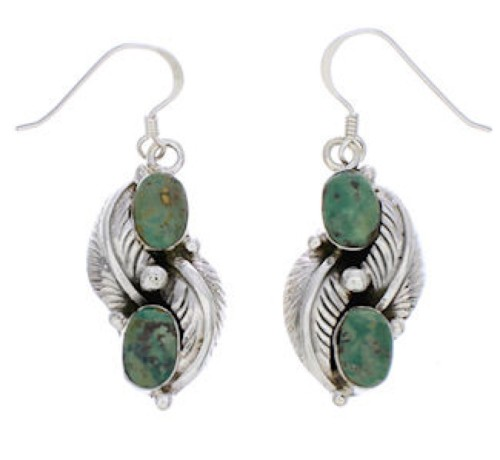 Authentic Sterling Silver Turquoise Leaf Hook Dangle Earrings PX33039