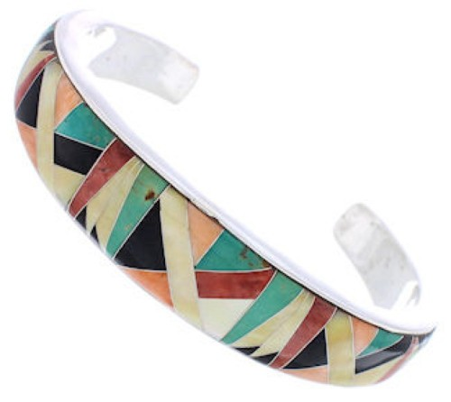Multicolor Inlay Sunset Whiterock Silver Bracelet Jewelry PX28110