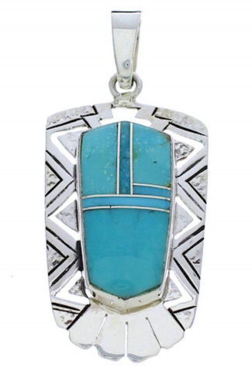 Sterling Silver Turquoise Inlay Pendant Jewelry PX30157