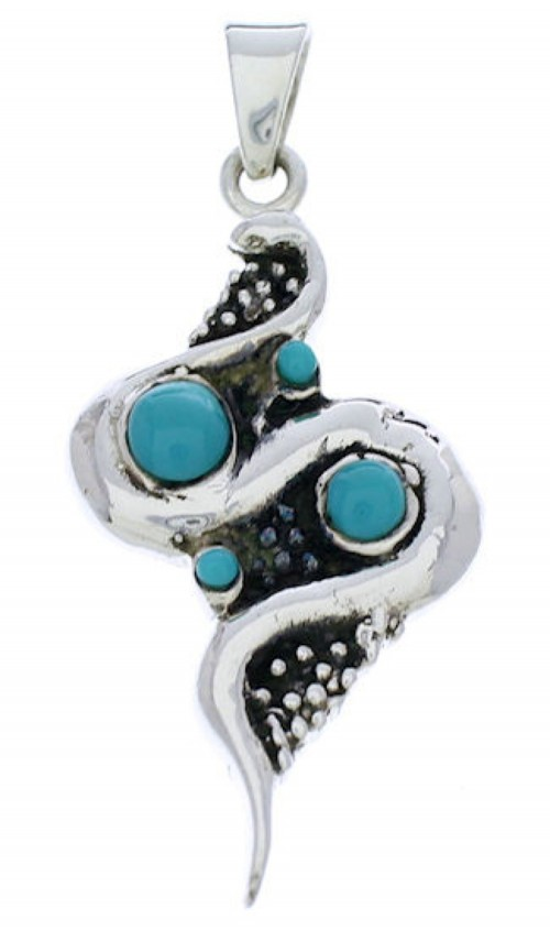 Sterling Silver Snake Turquoise Jewelry Pendant PX30190