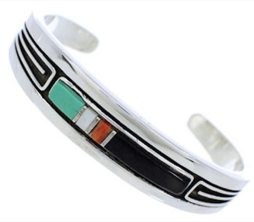 Multicolor Inlay Jewelry Sterling Silver Cuff Bracelet MX27495