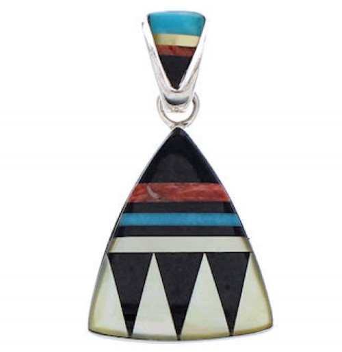 Multicolor And Sterling Silver Southwest Pendant EX29578