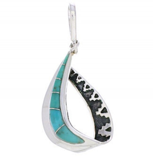 Silver And Turquoise Southwestern Slide Pendant EX29622