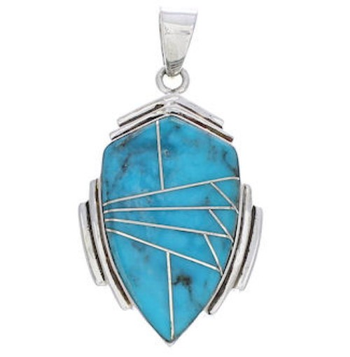 Genuine Sterling Silver And Turquoise Pendant Jewelry EX29634