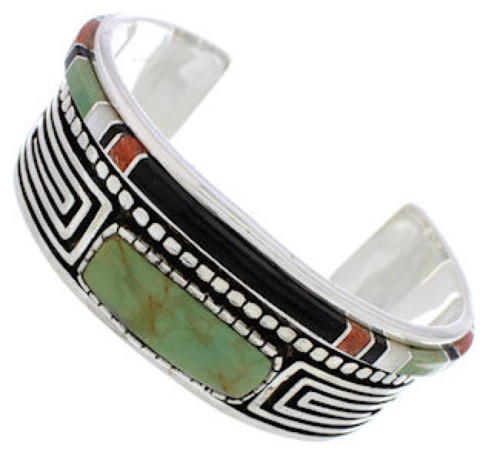 Water Wave Multicolor Sterling Silver Cuff Bracelet MX27546