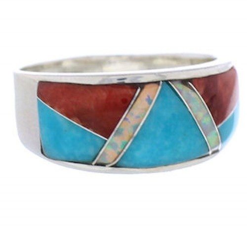 Wild Fire WhiteRock Multicolor Inlay Ring Size 8-1/4 PX38457