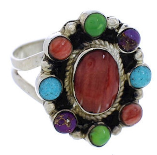 Genuine Silver Southwest Turquoise Multicolor Ring Size 8 JX37855