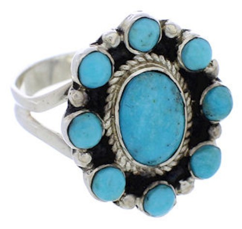 Sterling Silver Southwest Turquoise Ring Size 8-1/4 JX37864