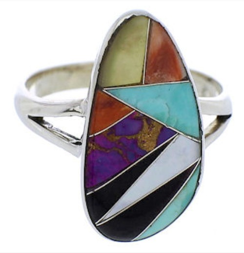 Multicolor Southwest Sterling Silver Ring Size 7-1/2 JX37887