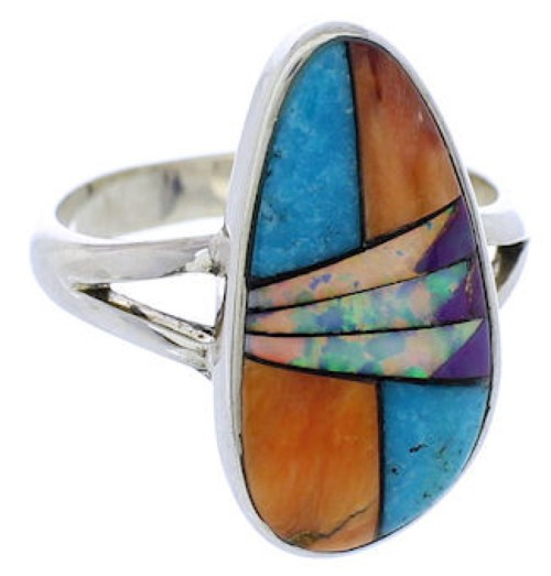 Genuine Sterling Silver Turquoise Multicolor Ring Size 7-1/2 JX37869