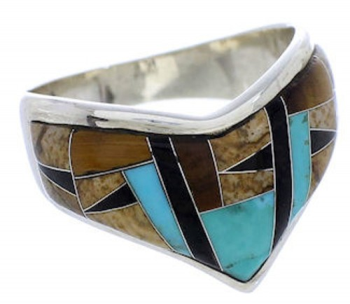 Genuine Sterling Silver Multicolor Southwest Ring Size 7-1/4 JX37796
