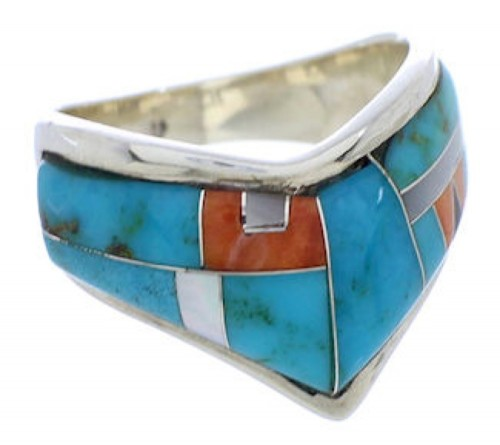 Multicolor And Turquoise Inlay Sterling Silver Ring Size 7-3/4 RS42213
