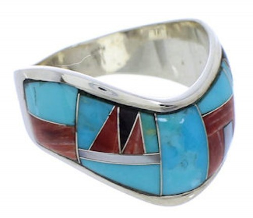 Multicolor Sterling Silver Southwest Ring Size 8-1/2 JX37804
