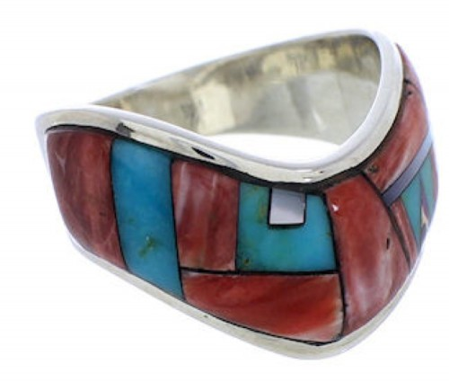 Southwest Sterling Silver Multicolor Inlay Ring Size 7-1/2 JX37801