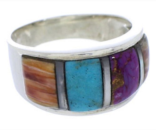 Authentic Sterling Silver Multicolor Ring Size 7-3/4 JX37727
