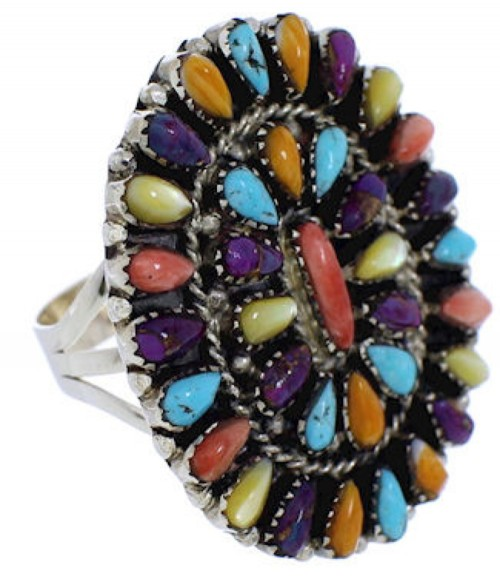 Southwest Multicolor Sterling Silver Ring Size 5-3/4 EX44015