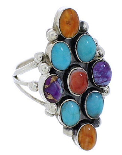 Multicolor Genuine Sterling Silver Ring Size 6-3/4 AS35618