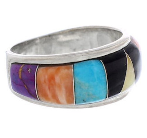 Multicolor Inlay Sterling Silver Jewelry Ring Size 7-1/4 UX35995