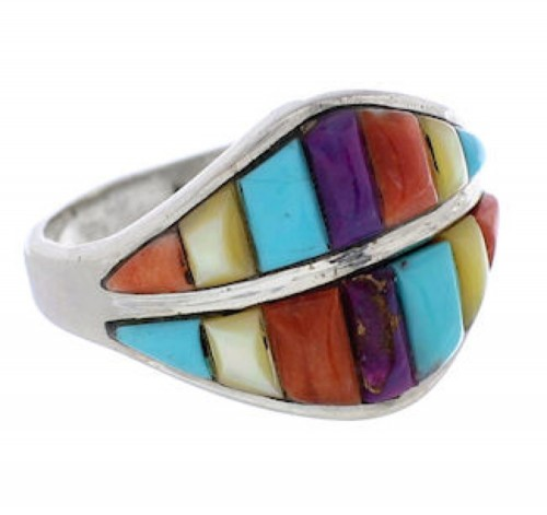 Silver Multicolor Jewelry Southwest Ring Size 7-1/2 GS56618