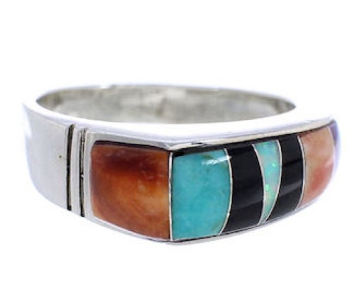 Southwestern Sterling Silver Multicolor Inlay Ring Size 7-1/2 UX36084
