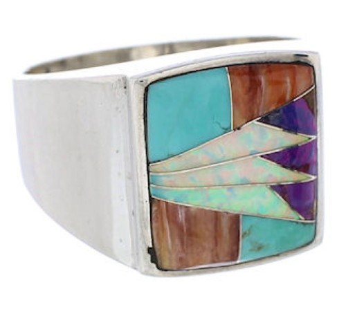 Southwest Sterling Silver Multicolor Inlay Ring Size 11-1/2 UX36106