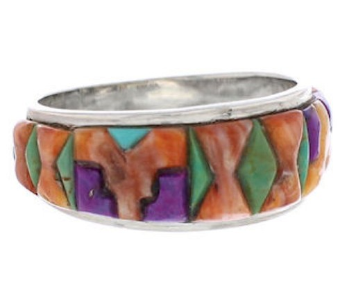 Silver And Multicolor Inlay Southwest Ring Size 8-1/2 UX36110