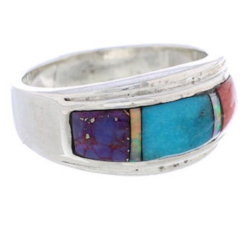 Silver And Multicolor Inlay Southwest Ring Size 7-3/4 UX36137