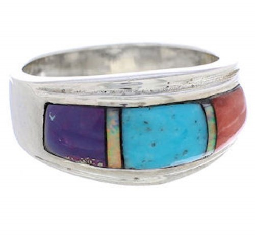 Genuine Sterling Silver Multicolor Inlay Ring Size 5-1/4 UX36151